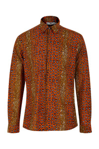 Asante Long sleeve African print shirt- Brownstone