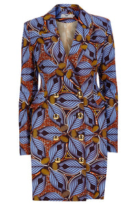 African print blazer dress purple ohema ohene