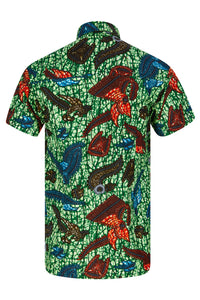 Men's African print shirt Green Ohema Ohene