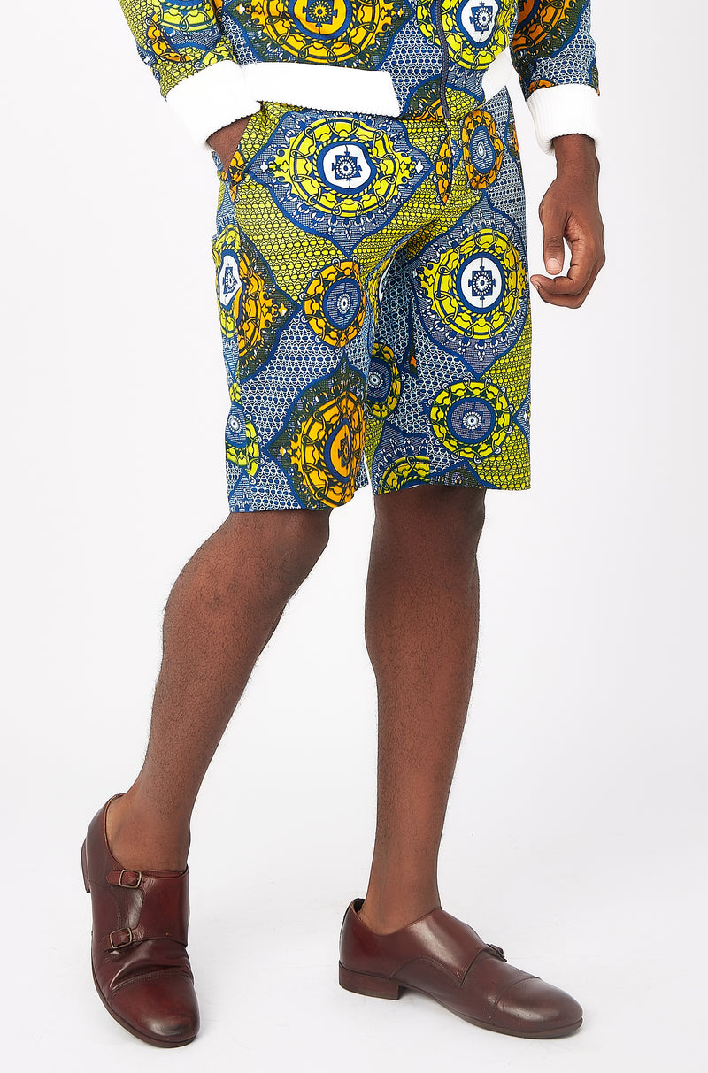 Jamie Men's African print fitted shorts-Parisian