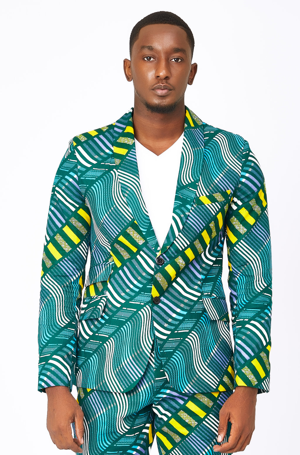 Men's Green African print blazer