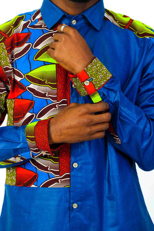 Blue Long Sleeve African Print shirt- - OHEMA OHENE AFRICAN INSPIRED FASHION  - 2
