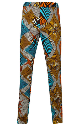 Mens Skinny fit African Print Trousers 'Sphere'