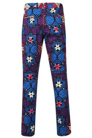 Mens Skinny fit African Print Trousers 'Star'