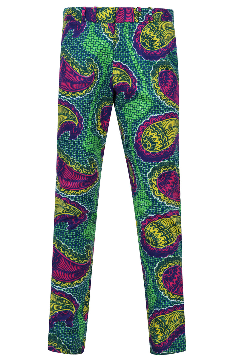 Osei Men's African print fitted trousers-Paisley