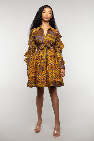 Nadia ruffle sleeve shirt dress- Ewausi