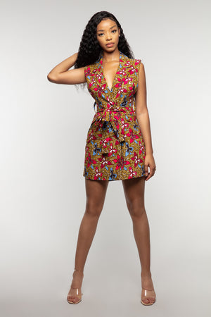 Jacqui African print sleeveless blazer dress