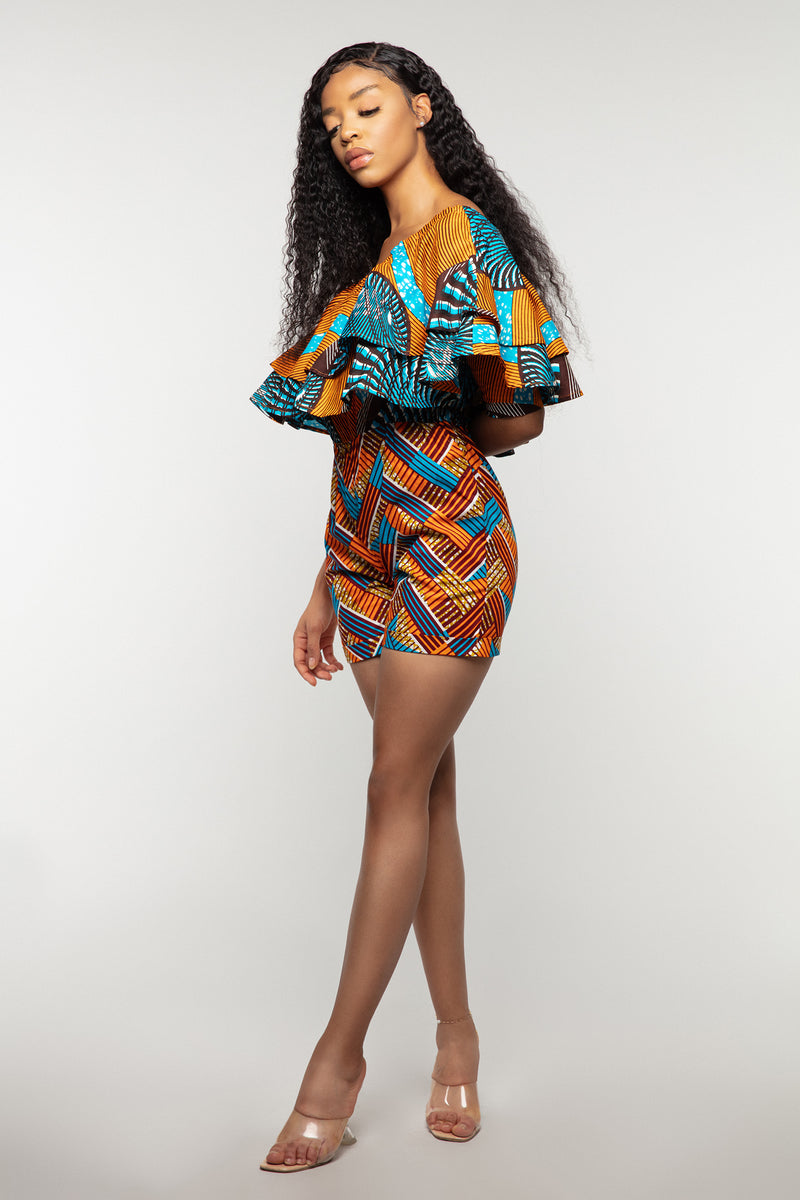 Kiki oversized frill neck playsuit-Orange