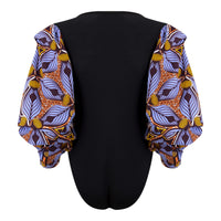 Puff sleeve African print bodysuit-Tiger Lily