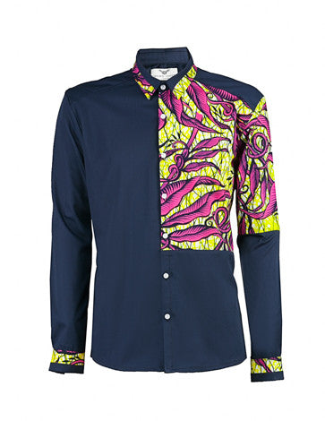 Men's African print shirt-Navy quarter panel - OHEMA OHENE AFRICAN INSPIRED FASHION  - 1