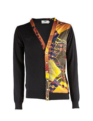 Men's African print cardigan-black - OHEMA OHENE AFRICAN INSPIRED FASHION  - 1