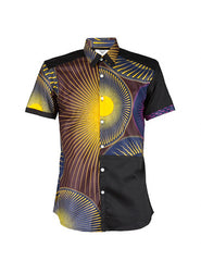 Men's Black African print colour block shirt - OHEMA OHENE AFRICAN INSPIRED FASHION  - 1