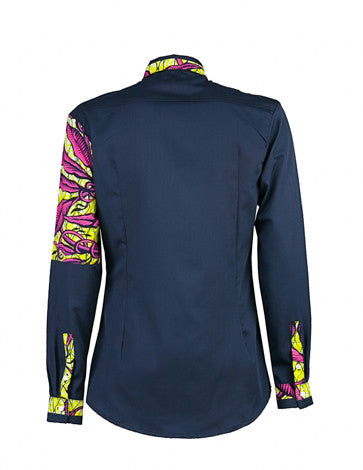 Men's African print shirt-Navy quarter panel