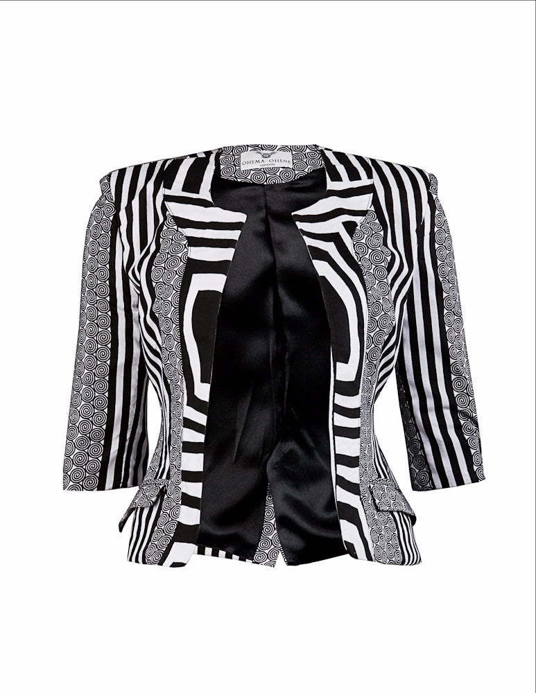 Gloria Black & White blazer - OHEMA OHENE AFRICAN INSPIRED FASHION  - 1