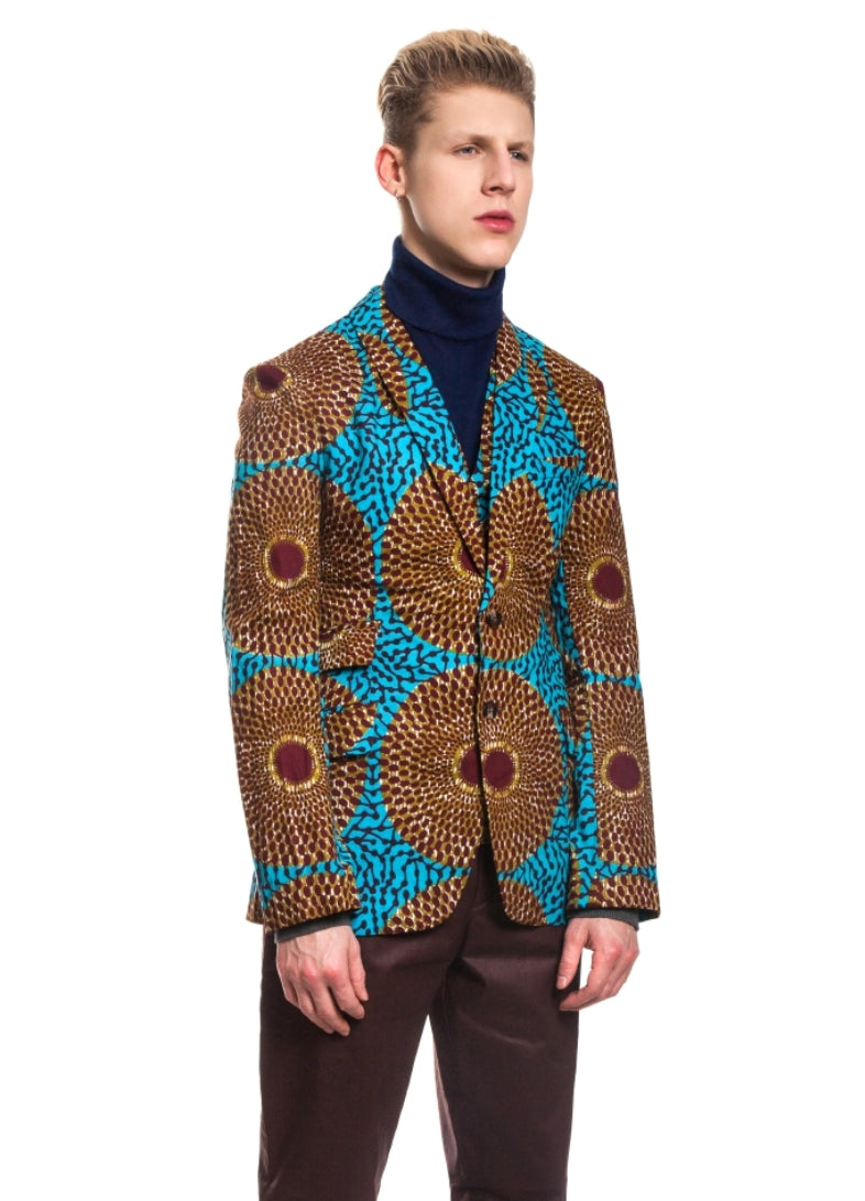 Men's African print Blazer Brown-Joshua 2 Button Nsubra