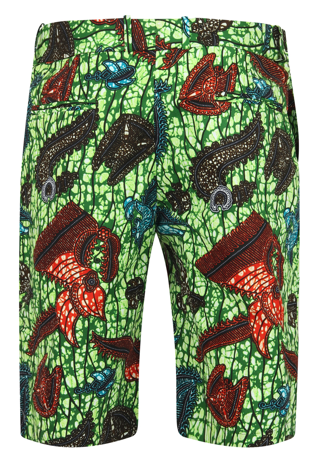 Jamie Men's African Print Fitted Shorts-Sea King