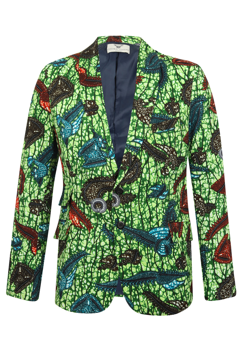 Green African print blazer Men FT