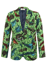 Men's Green 2 Button African Print Blazer-Joshua 'Sea King'