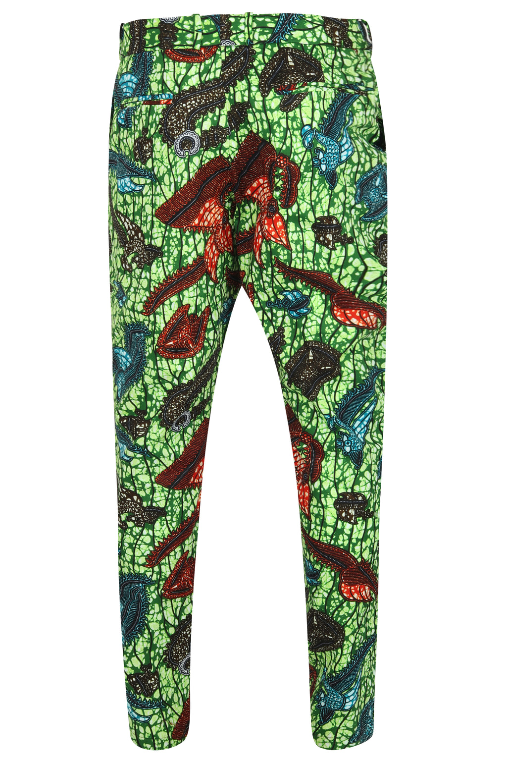 Men's Green African print Fitted trouser-Sea King