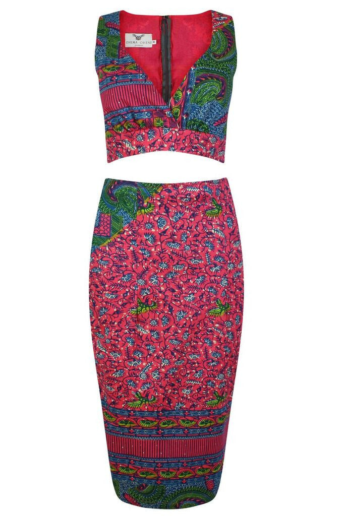 Two piece African print Co-Ord - OHEMA OHENE AFRICAN INSPIRED FASHION  - 1