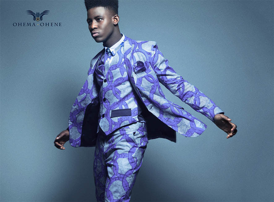 Blue Breeze Joshua Men's African print blazer - OHEMA OHENE AFRICAN INSPIRED FASHION  - 2