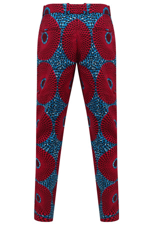 Men's African print Fitted trousers-Water well 'Nsubra'