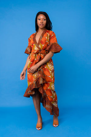 Yaa Midaxi Wrap front dress