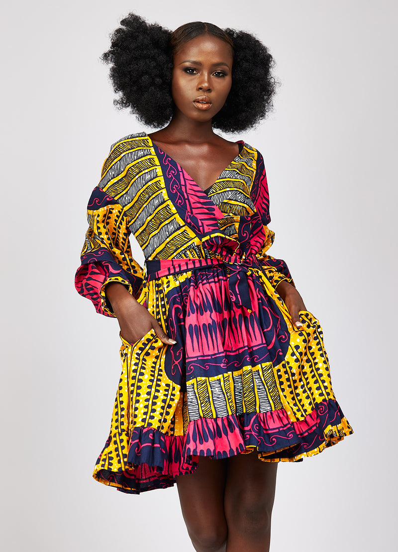African print dress exaggerated sleeve Ohema Ohene