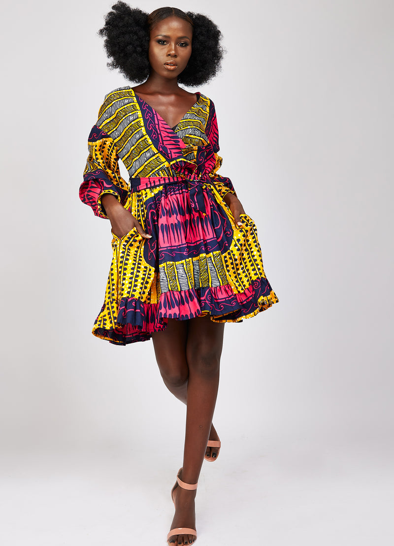 African print puff sleeve dress
