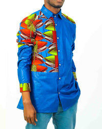 Blue Long Sleeve African Print shirt- - OHEMA OHENE AFRICAN INSPIRED FASHION  - 1