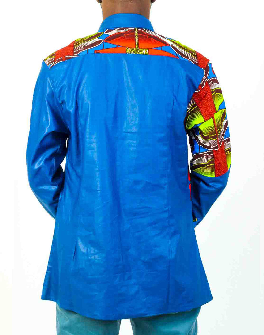 Blue Long Sleeve African Print shirt- - OHEMA OHENE AFRICAN INSPIRED FASHION  - 3