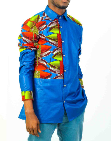 Blue Long Sleeve African Print shirt-