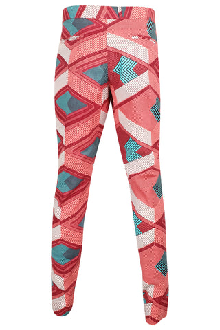 Pink African print Mens Fitted trousers