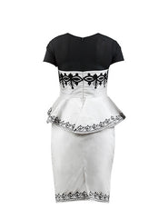 Black & White Ameila- Peplum dress - OHEMA OHENE AFRICAN INSPIRED FASHION  - 2