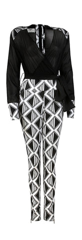 Arabaa- Ladies Chiffon African print jumpsuit - OHEMA OHENE AFRICAN INSPIRED FASHION  - 1