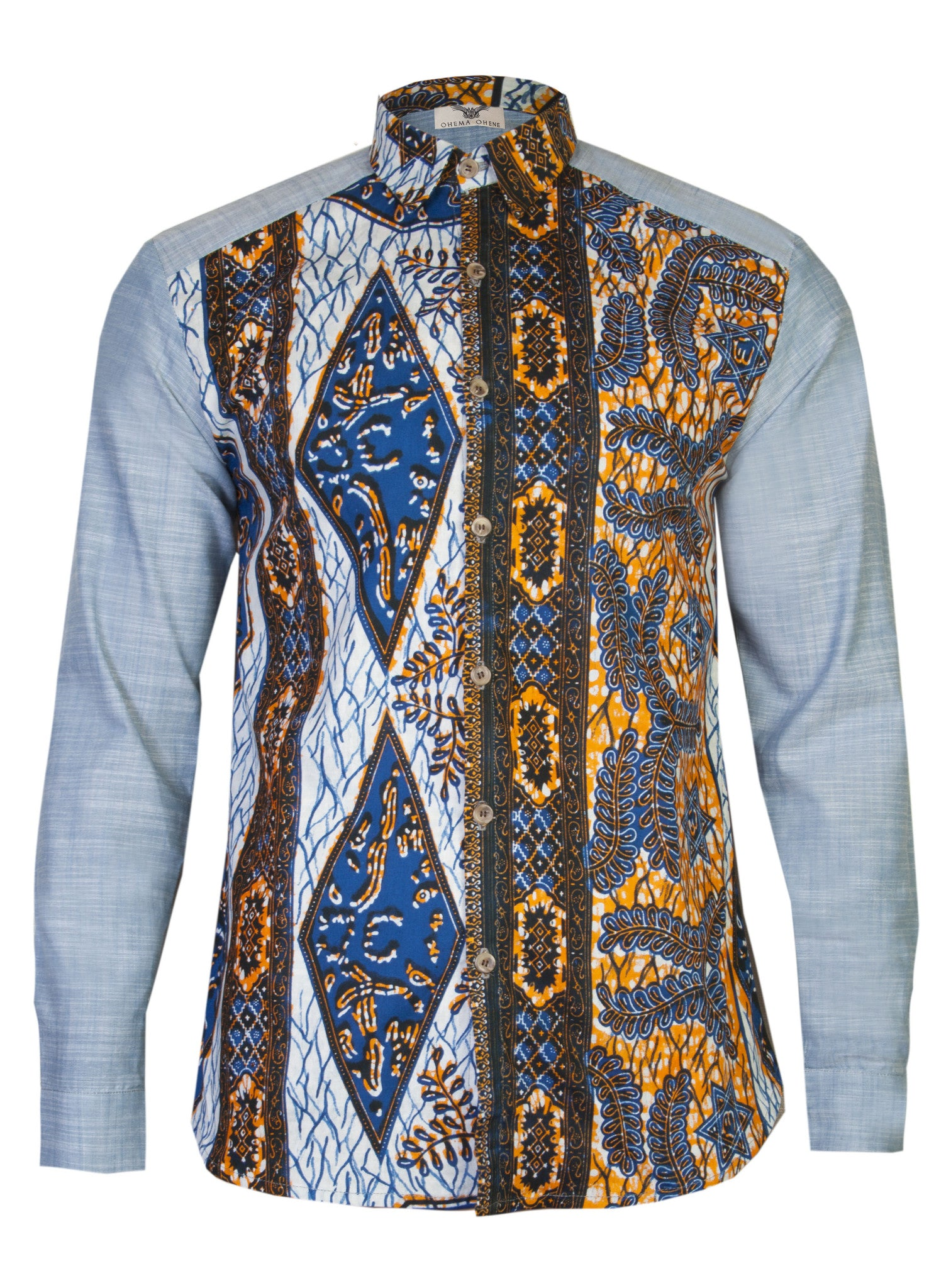 Men's Denim African print shirt 'Bethlehem' - OHEMA OHENE AFRICAN INSPIRED FASHION  - 1