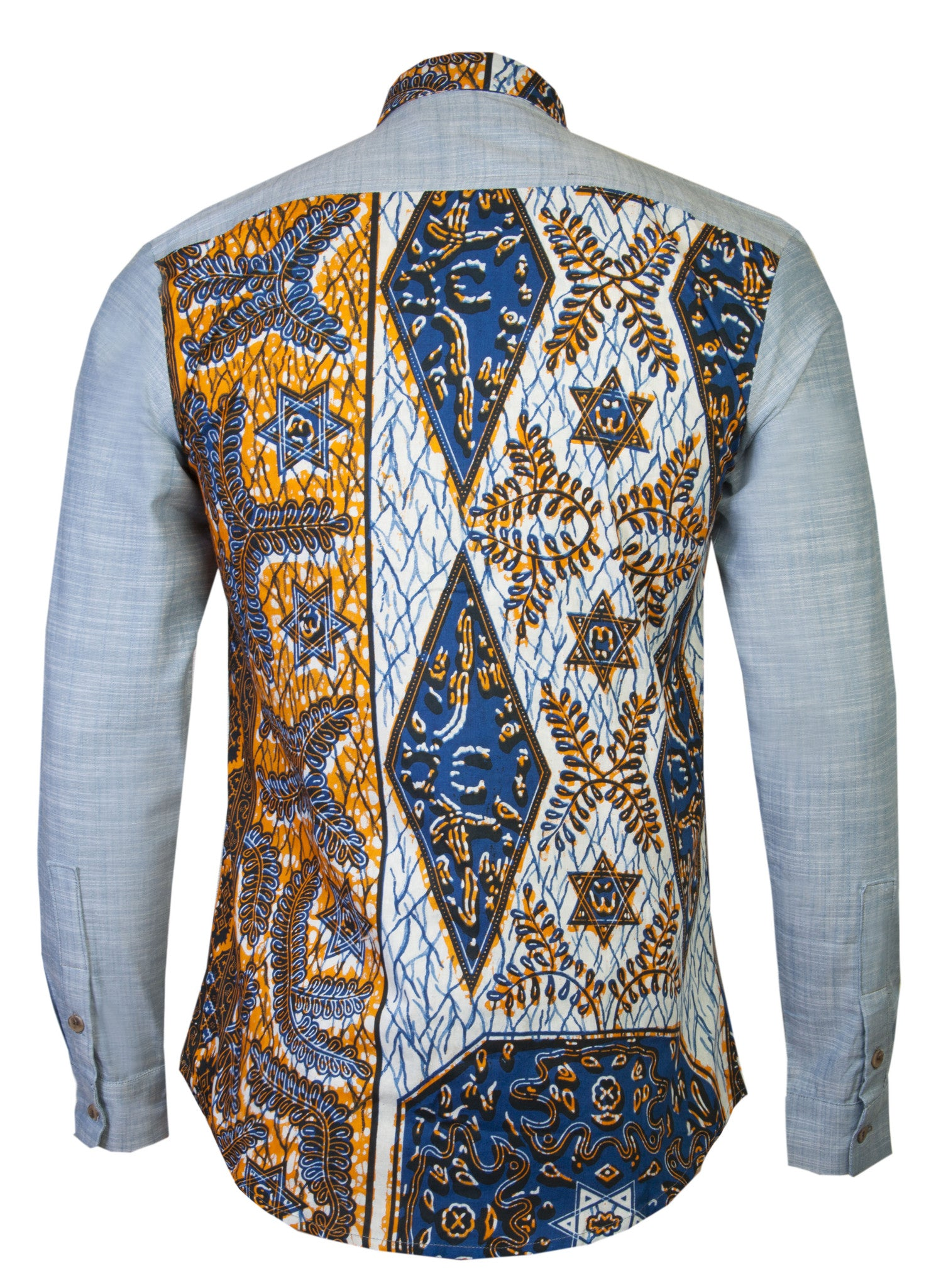 Men's Denim African print shirt 'Bethlehem' - OHEMA OHENE AFRICAN INSPIRED FASHION  - 2