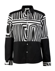 Asante Men's Black & White shirt HB - OHEMA OHENE AFRICAN INSPIRED FASHION  - 1