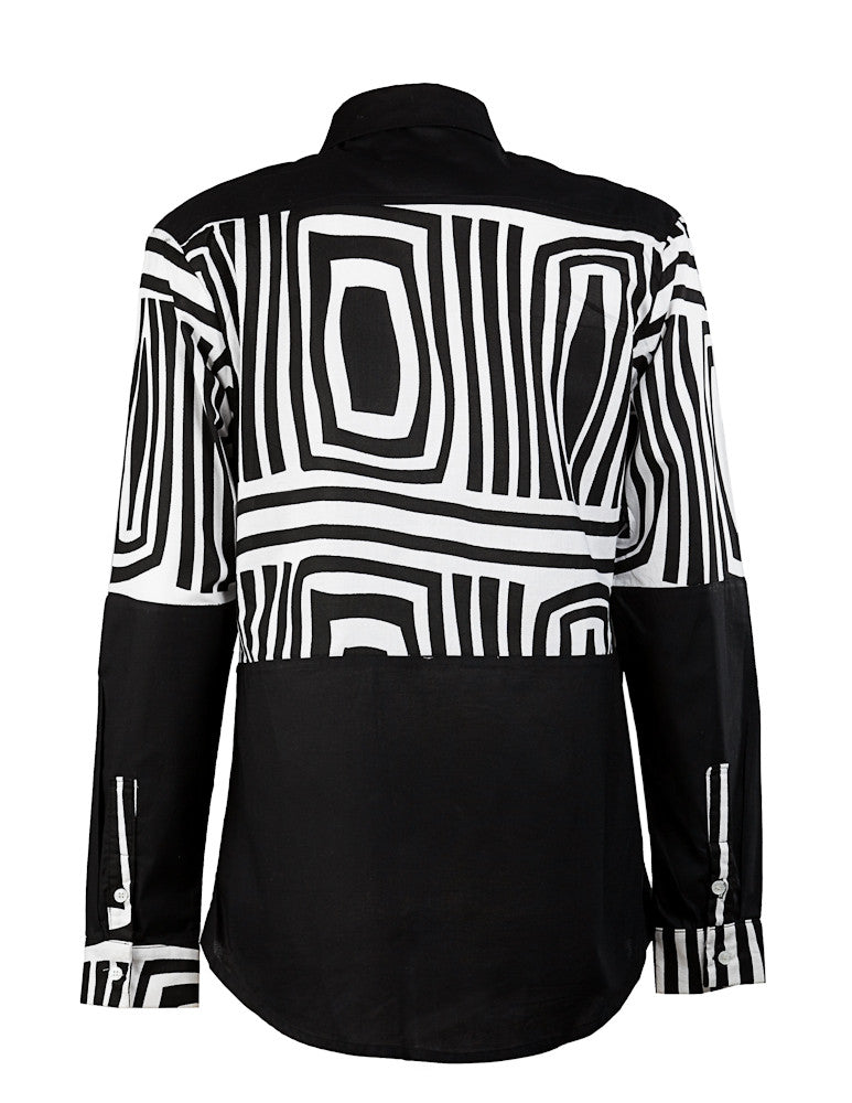 Asante Men's Black & White shirt HB - OHEMA OHENE AFRICAN INSPIRED FASHION  - 2