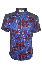 Asante short sleeve contrast back-Pluto - OHEMA OHENE AFRICAN INSPIRED FASHION  - 1