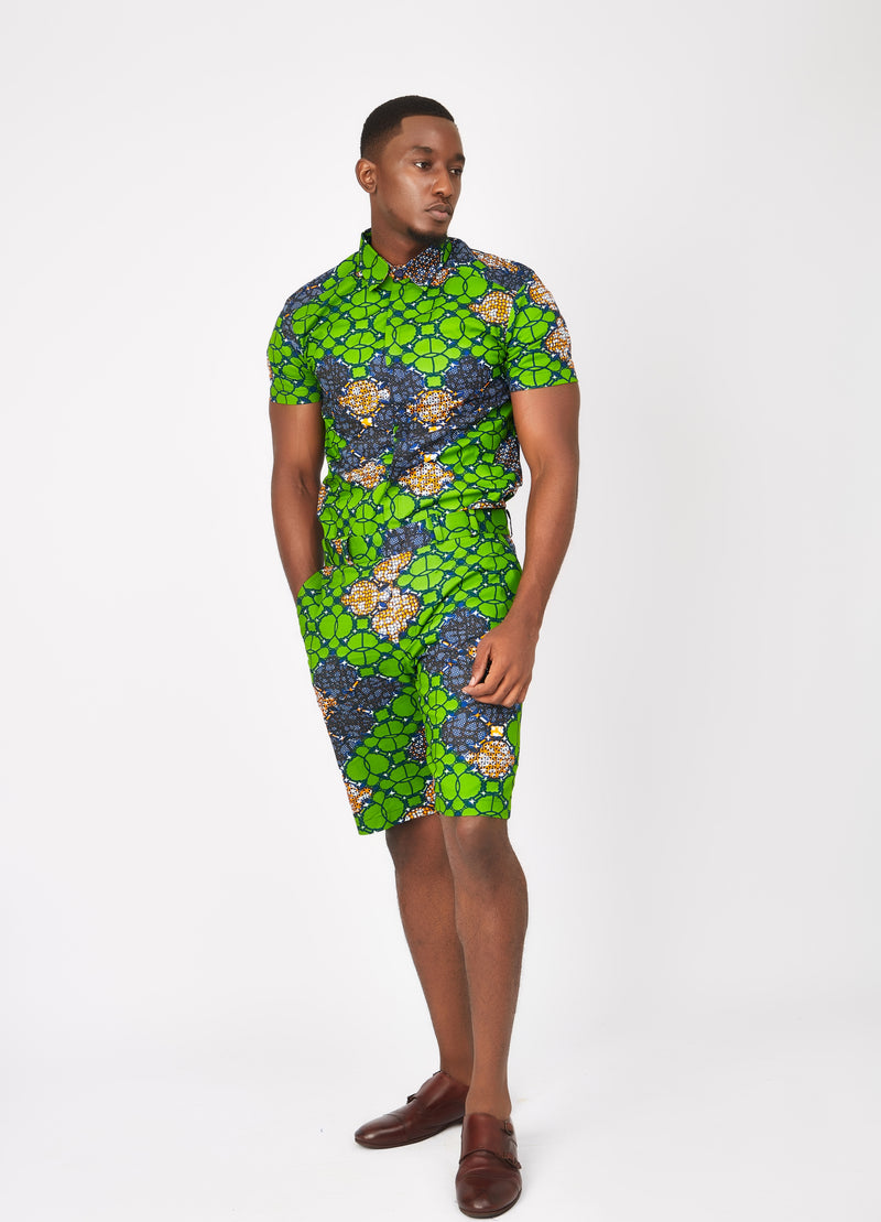 Men's SS African print shirt-Waterleaf