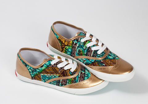 African Print Brogue Sneakers