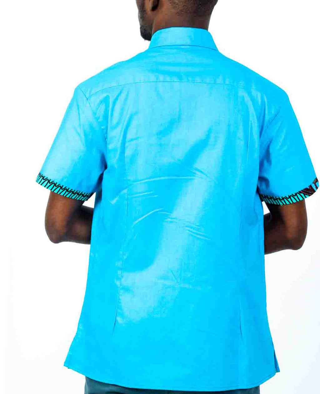 Baby Blue African Print Shirt - OHEMA OHENE AFRICAN INSPIRED FASHION  - 2