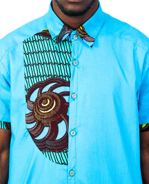 Baby Blue African Print Shirt - OHEMA OHENE AFRICAN INSPIRED FASHION  - 3