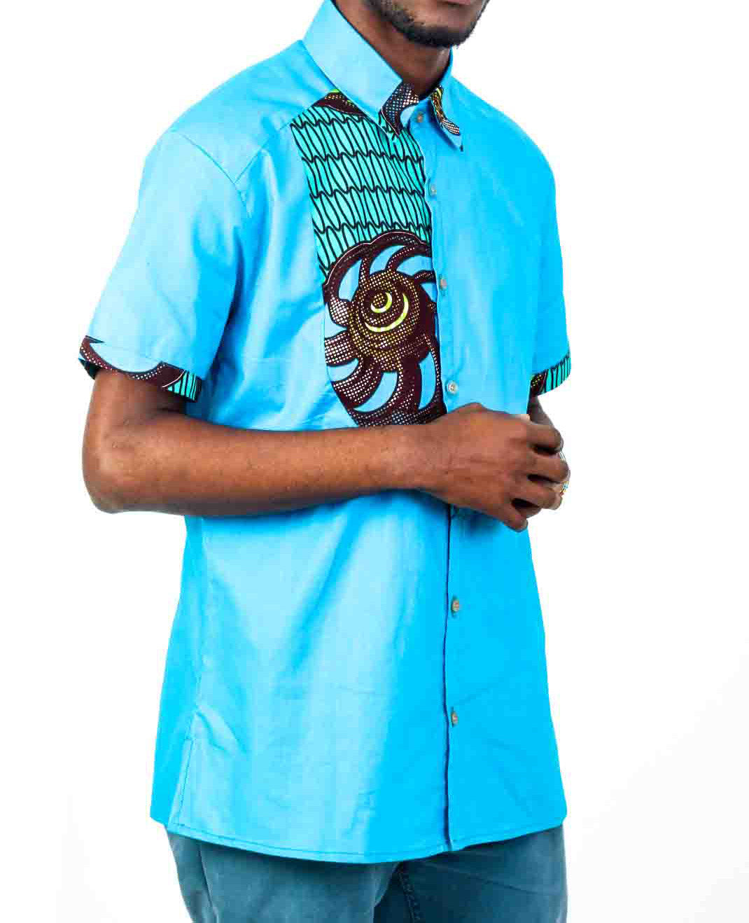 Baby Blue African Print Shirt - OHEMA OHENE AFRICAN INSPIRED FASHION  - 1