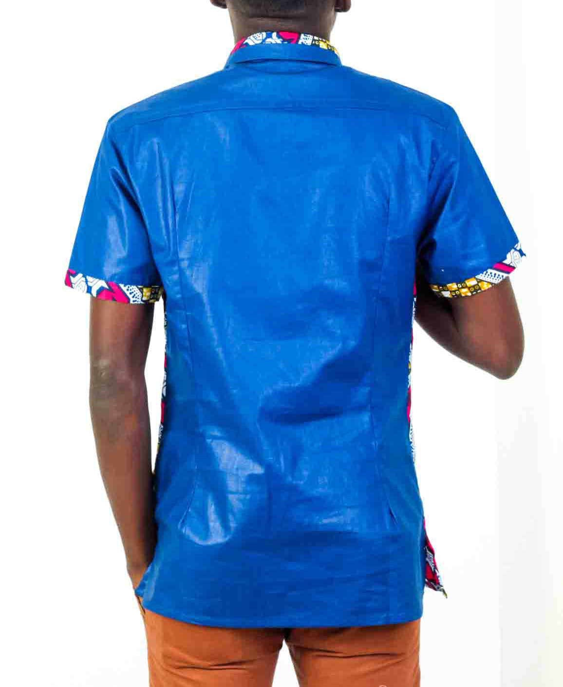Mens Short Sleeve Blue African print shirt-Kuna - OHEMA OHENE AFRICAN INSPIRED FASHION  - 2