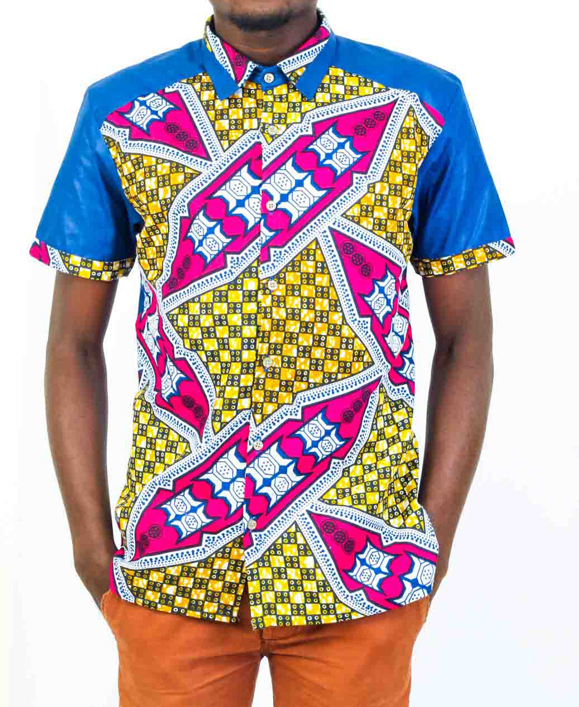 Mens Short Sleeve Blue African print shirt-Kuna - OHEMA OHENE AFRICAN INSPIRED FASHION  - 1