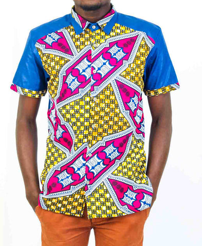Mens Short Sleeve Blue African print shirt-Kuna