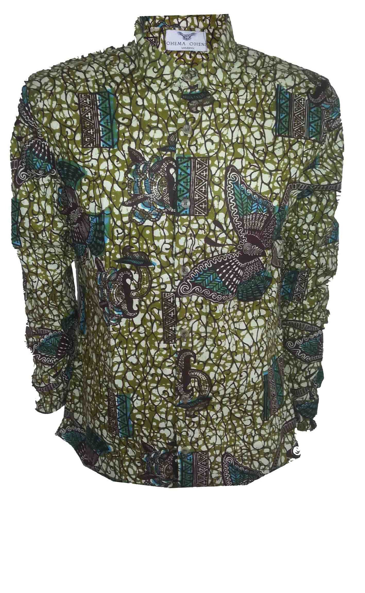 Men's long sleeve African printed shirt - OHEMA OHENE AFRICAN INSPIRED FASHION