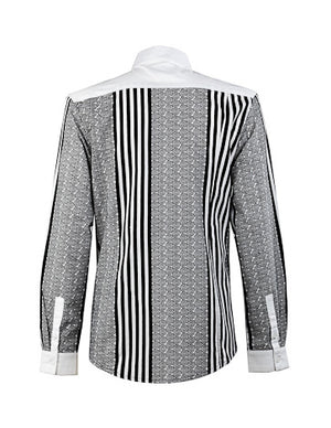 Emmanuel-Front panel black & white shirt - OHEMA OHENE AFRICAN INSPIRED FASHION  - 2